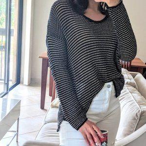 Eileen Fisher Linen/Cotton Black/Nude Sweater